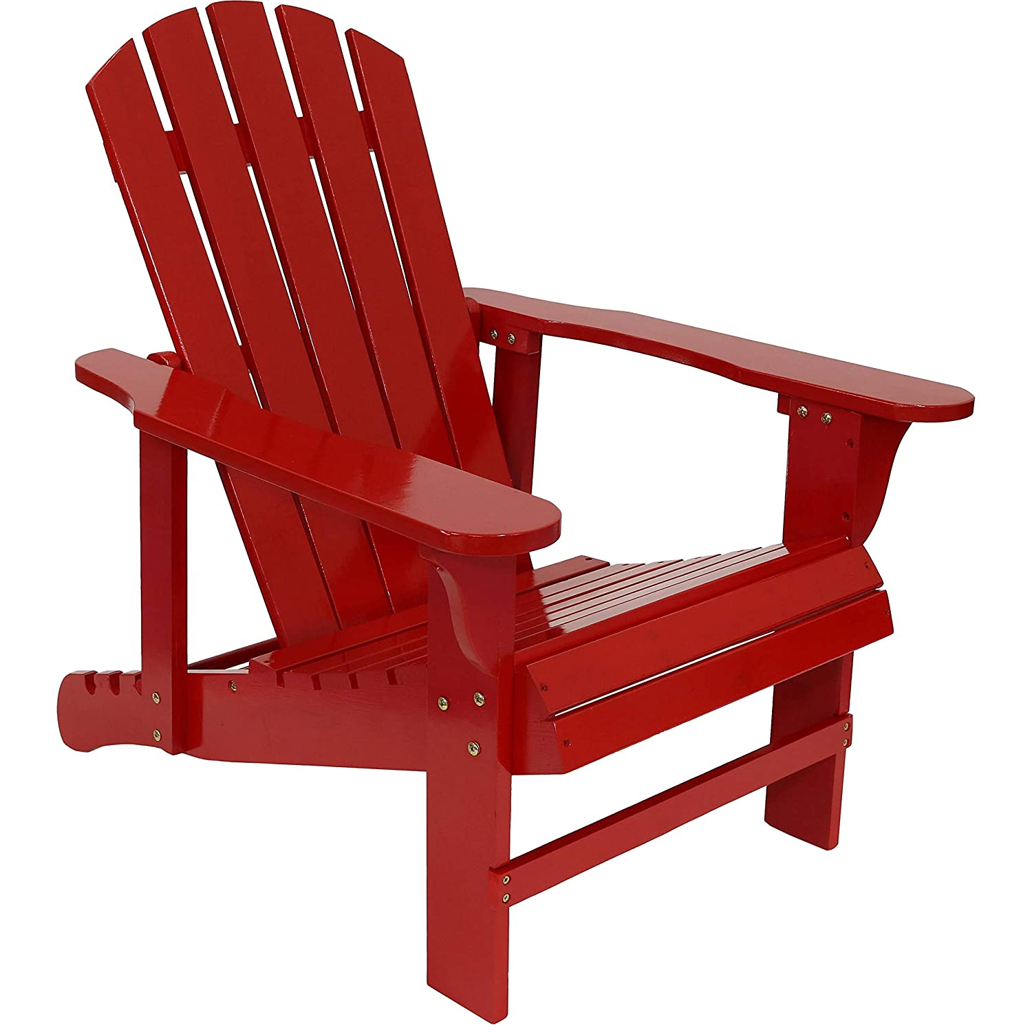 Sunnydaze Wooden Outdoor Adirondack Chair with Adjustable Backrest, 250-Pound Capacity, Red