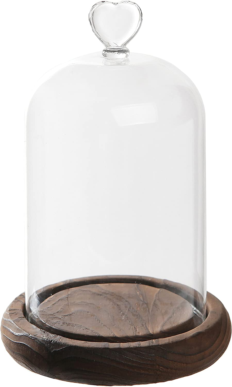 7 inch Mini Clear Glass & Wood Cloche Bell Jar Centerpiece/Tabletop Display Case w/Heart Handle