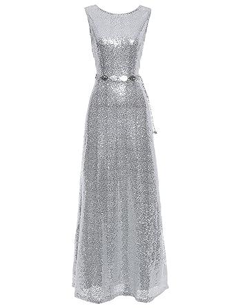 Flapper Girl Womens Sequins Silver Prom Wedding Evening Long Maxi