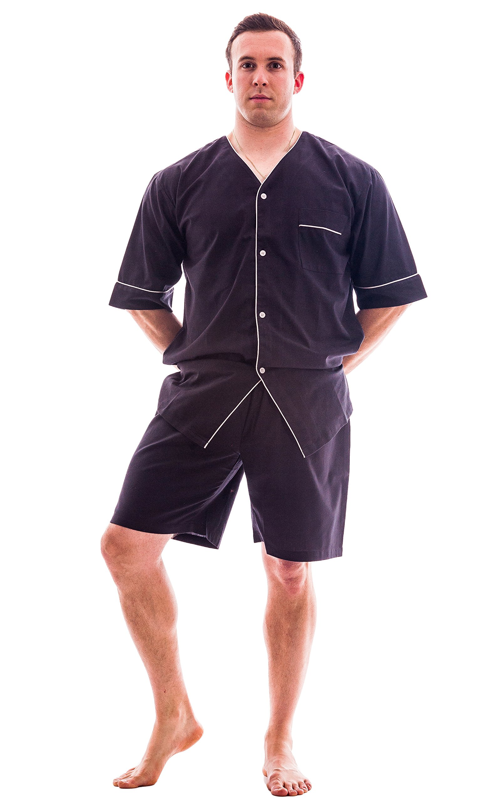 Men's Woven S/S Pajama Set with ShortsMediumCharcoal