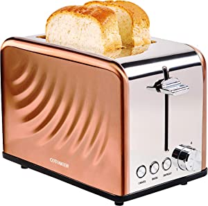 Cotomier Toaster 2 Slice, Rose Gold Stainless Steel Toaster with Extra Wide Slots & Special Water Ripple Design, Toasted Evenly with Defrost/Bagel/Cancel & 6 Browning Control, Easy to Clean with Removable Crumb Tray 850W