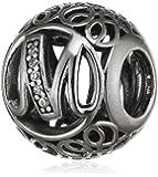 "Pandora Damen-Charm Vintage ""M"" 925 Zirkonia weiß-791857CZ"