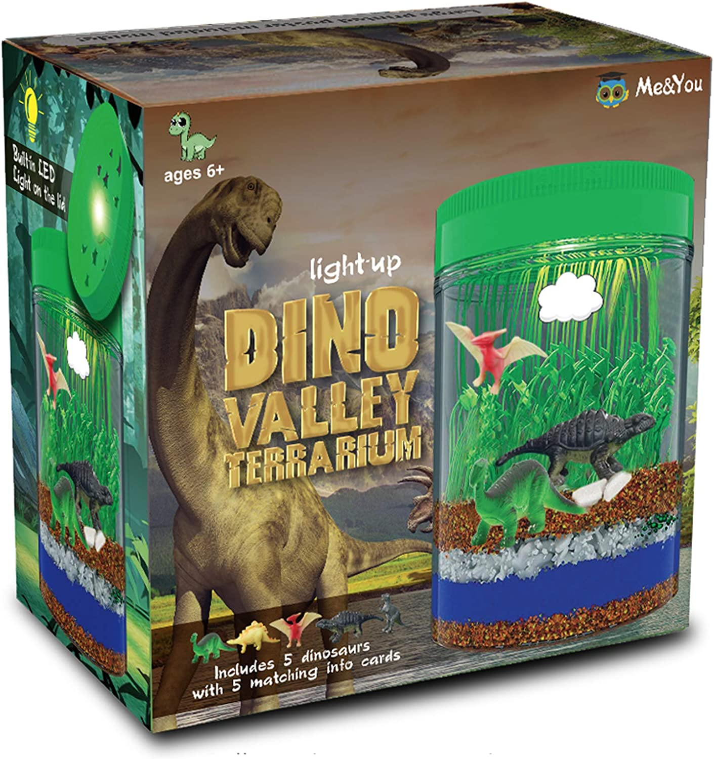 Light-Up Terrarium Kit for Kids with 5 Dinosaur Toys, STEM Educational DIY Science Project - Create Your Customized Mini Dinosaur Garden for Children - Best Gift for Boys and Girls Age 3, 4, 5, 6, 7