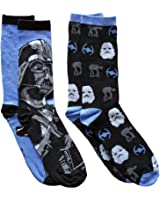 Star Wars Men's Crew Socks 2 Pair Pack Shoe Size 6-12 (Shoe Size 6-12, Vader/Ships)
