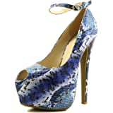 DailyShoes Women's Extreme High Fashion Ankle Strap Peep Toe Hidden Platform Sexy Stiletto High Heel Pump Shoes