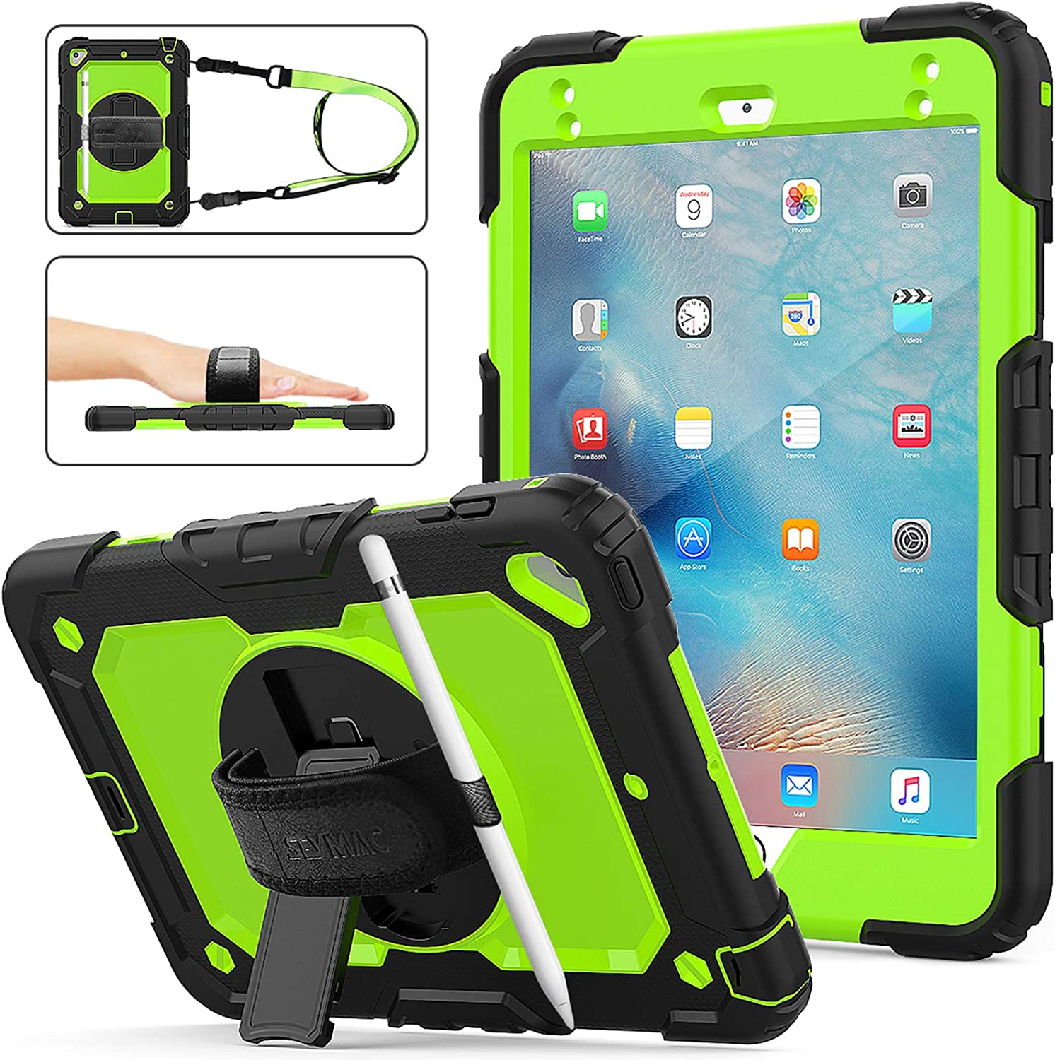 iPad Mini 5 Case,iPad Mini 4 Case, SEYMAC Stock [Full-Body] Drop Proof &Shockproof Armor Case with 360 Rotating Stand [Pencil Holder] Screen Protector Hand Strap for iPad Mini 4/5 (Green+Black)