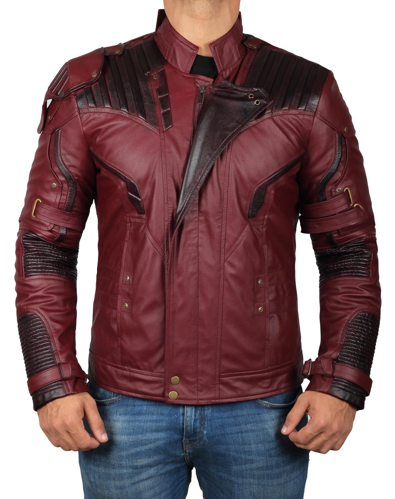 Avengers Infinity War Star Lord Maroon Jacket | PU Waxed Jacket, L by Decrum