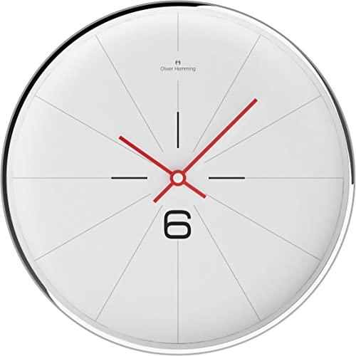 Oliver Hemming Six 30 cm Chrome Steel Designer Wall Clock and Mineral Glass Len