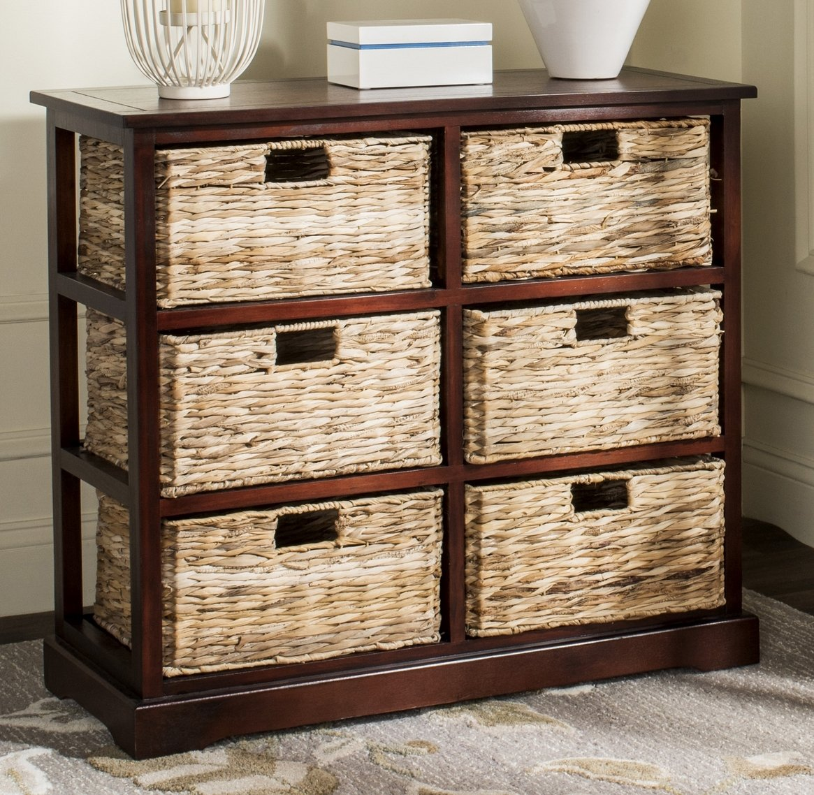 Safavieh American Homes Collection Keenan Cherry 6 Wicker Basket Storage Chest
