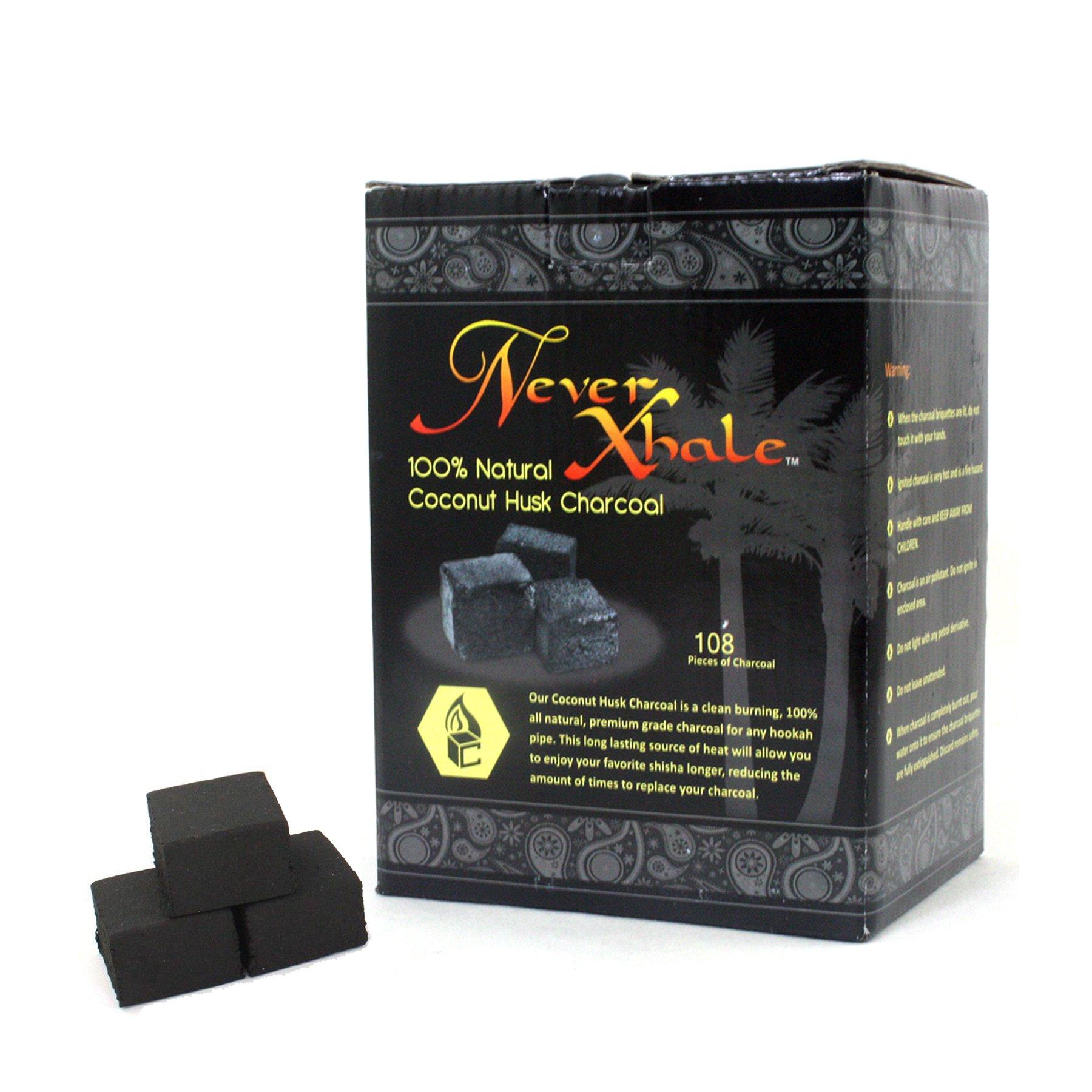 NeverXhale 108pc Premium 100% All Natural Coconut Husk Hookah Charcoal Coal