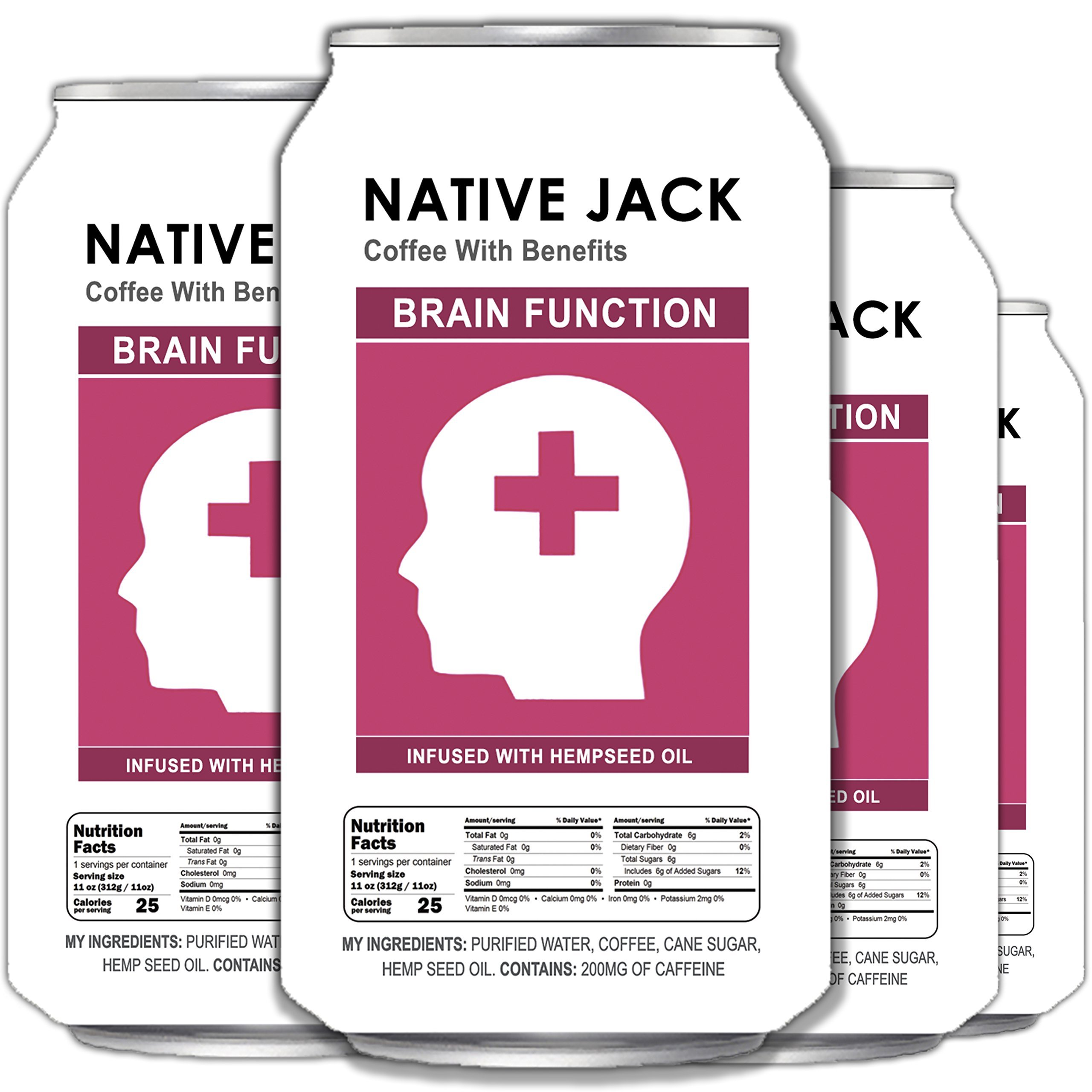 Native Jack Nitro Coffee, Infused With Brain Function Omega 3 Oils, 200mg of Caffeine (4 Count, 11 Fl Oz Each)