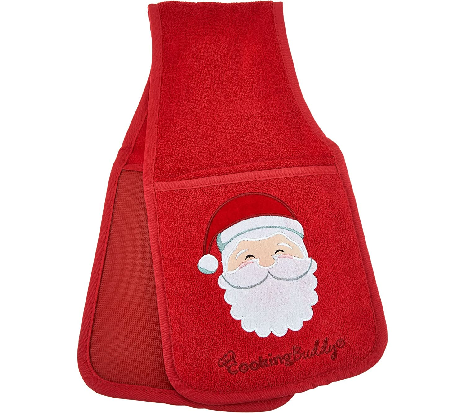 Campanelli's Cooking Buddy - Professional Grade All-in-One Pot Holder, Hand Towel, Lid Grip, Tool Caddy, and Trivet. Heat Resistant up to 500ºF. (Limited Edition: Christmas Red Santa)