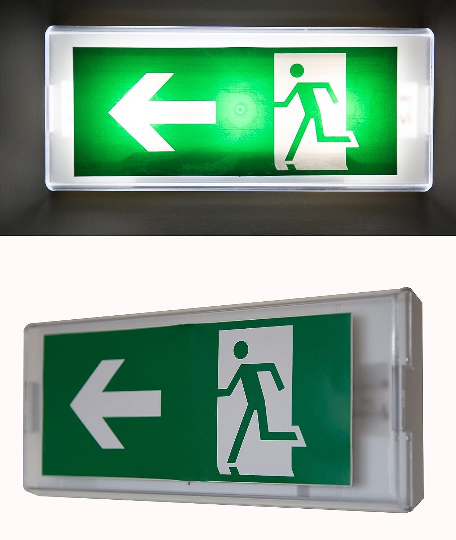 Cartel con luz de emergencia para salida de emergencia ...