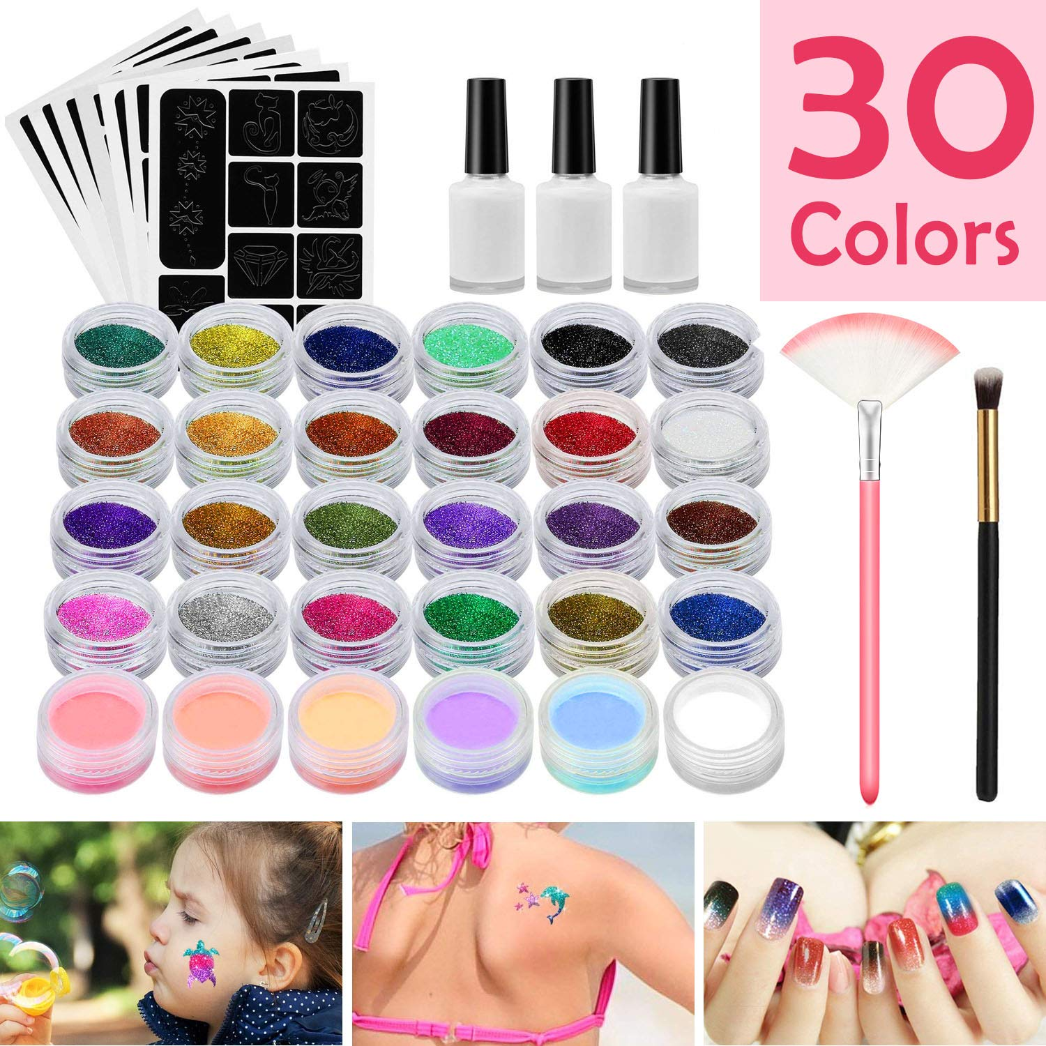 Feadem Glitter Tattoo Kit,Temporary Tattoos Face painting Make Up Body Glitter Body Art Design For Kids, Teenager Adult,Halloween,With 30 Colour Glitter,118 Sheet Uniquely Themed Tattoo Stencil