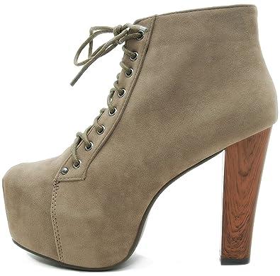 7bf954ee6adbfc Kayla Shoes© Plateau Stiefeletten mit Absatz in Holz Optik  Amazon ...