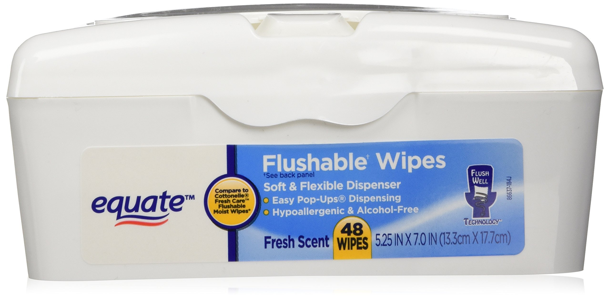 Equate Flushable Wipes In Soft Flexible Dispenser, Fresh Scent, 48 Sheet