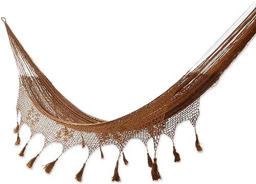 NOVICA Copper Brown Hand Woven Nylon Mayan 2 Person XL Rope Hammock