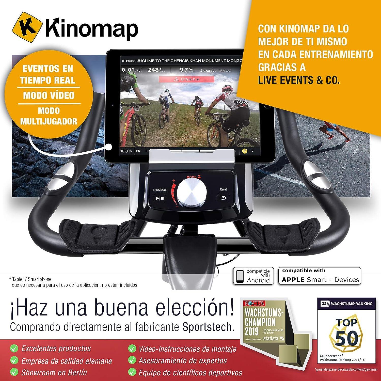Sportstech SX200 Bicicleta estática Profesional; Control de App para Smartphone, Volante de inercia 22kg, pulsometro - transmisión por Correa, ...