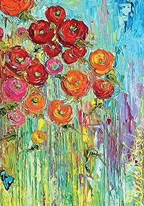 "Toland Home Garden 109533 Fabulous Flowers Flag, House 28"" x40"", Blue/Red/Orange/Green"
