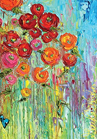 Toland Home Garden Fabulous Flowers 28 X 40 Inch Decorative Colorful  Multicolor Flower Painting House Flag