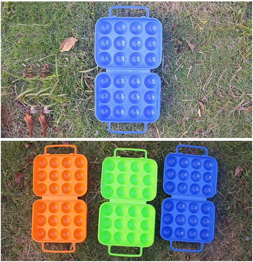 color azul CFtrum Acampada huevera de pl/ástico plegable para 12 huevos