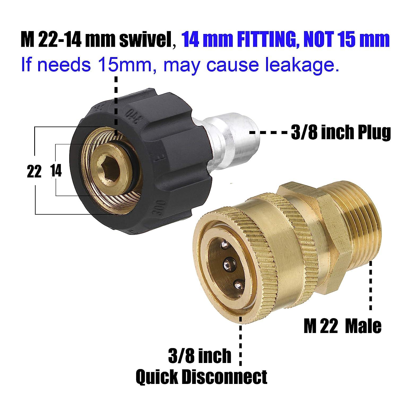 3//10,2 cm vers Quick Release 8-pack Quick Disconnect kit Mingle ultime nettoyeur haute pression adaptateur Ensemble M22 pivotant vers 3//20,3 cm Quick Connect