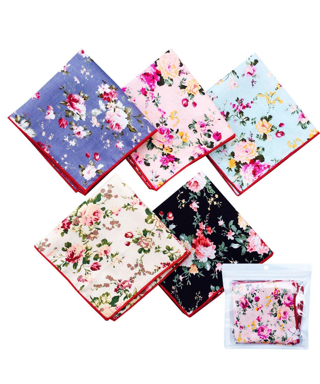 LACS Men's Chic Floral Cotton Pocket Squares Suits Hankies
