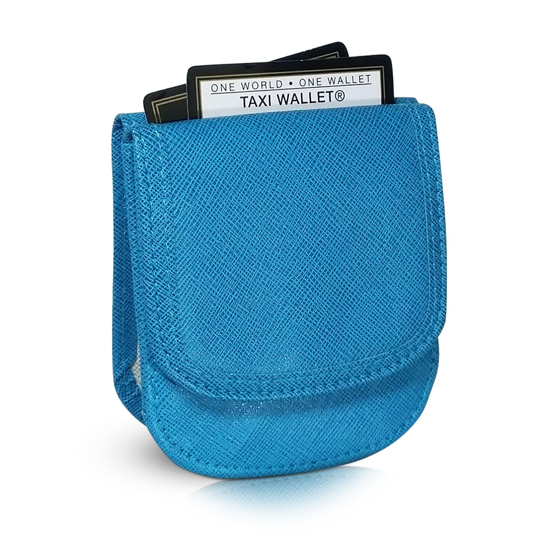 Taxi Wallet Teal Blue Small Vegan Folding Minimalist Card Wallet for Women Coin Purse