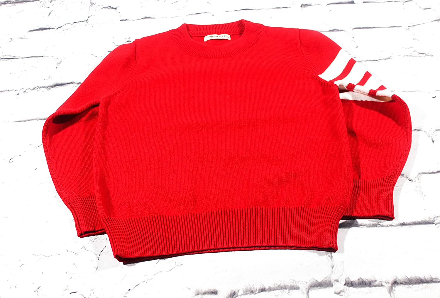 Red 100/% Cotton Knit Pullover Sweater for Boys 12M-3T
