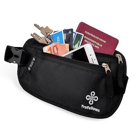 83e5291ca3 Marsupio cintura da viaggio + zip Porta Documenti Passaporto Italiano  Patente Cellulare soldi - Proteggi RFID