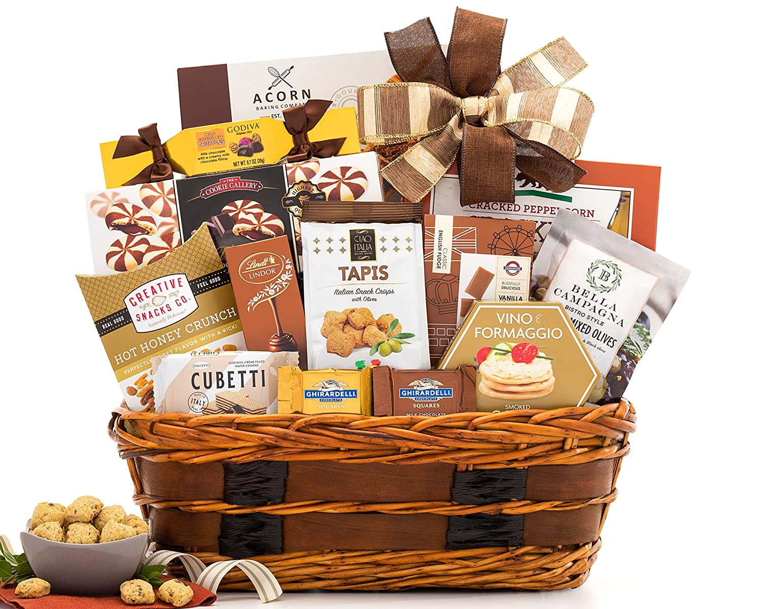 This is an image of a brown gift basket full of sweets.