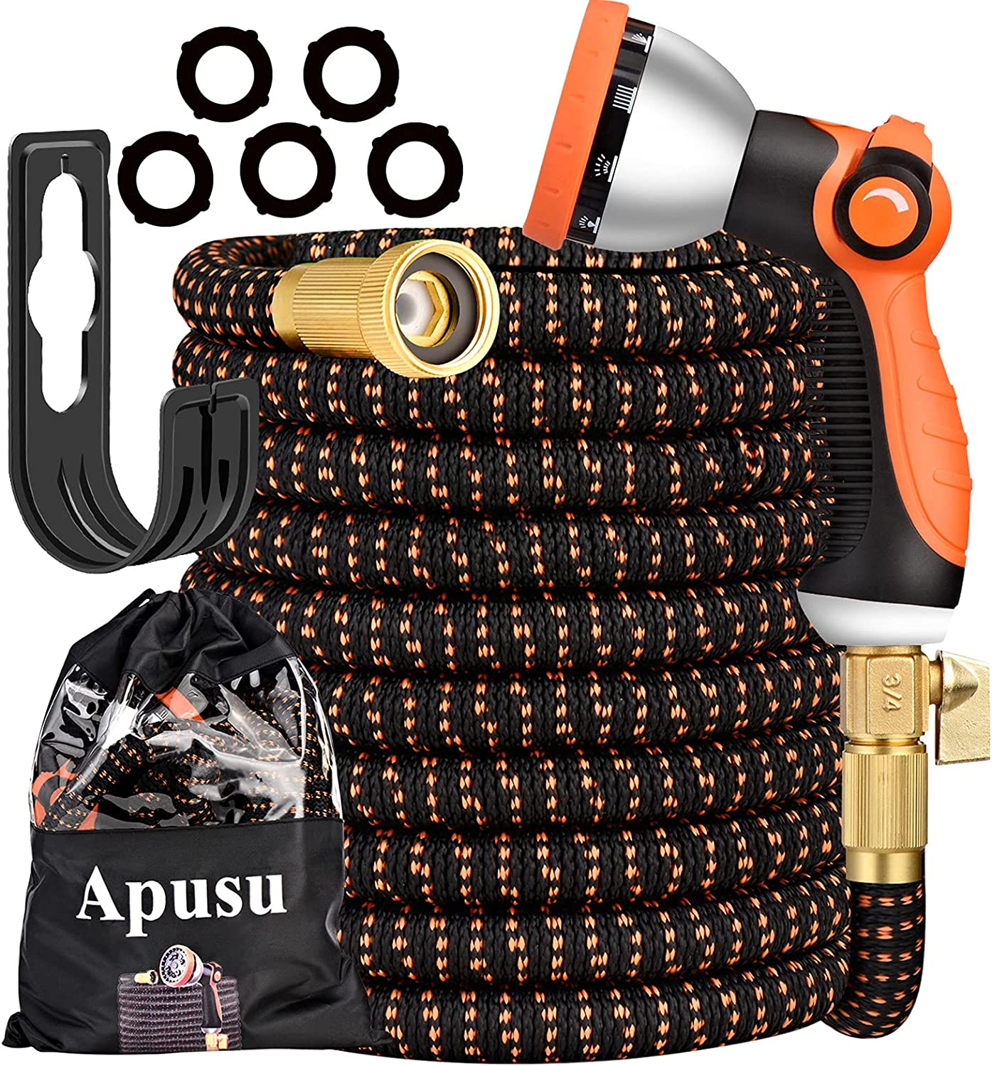 Apusu Expandable Hose 50ft- Lightweight Water Hose Durable- Flexible Retractable Garden Hose Pipe with 3/4 Brass Fitting(No Leaking)