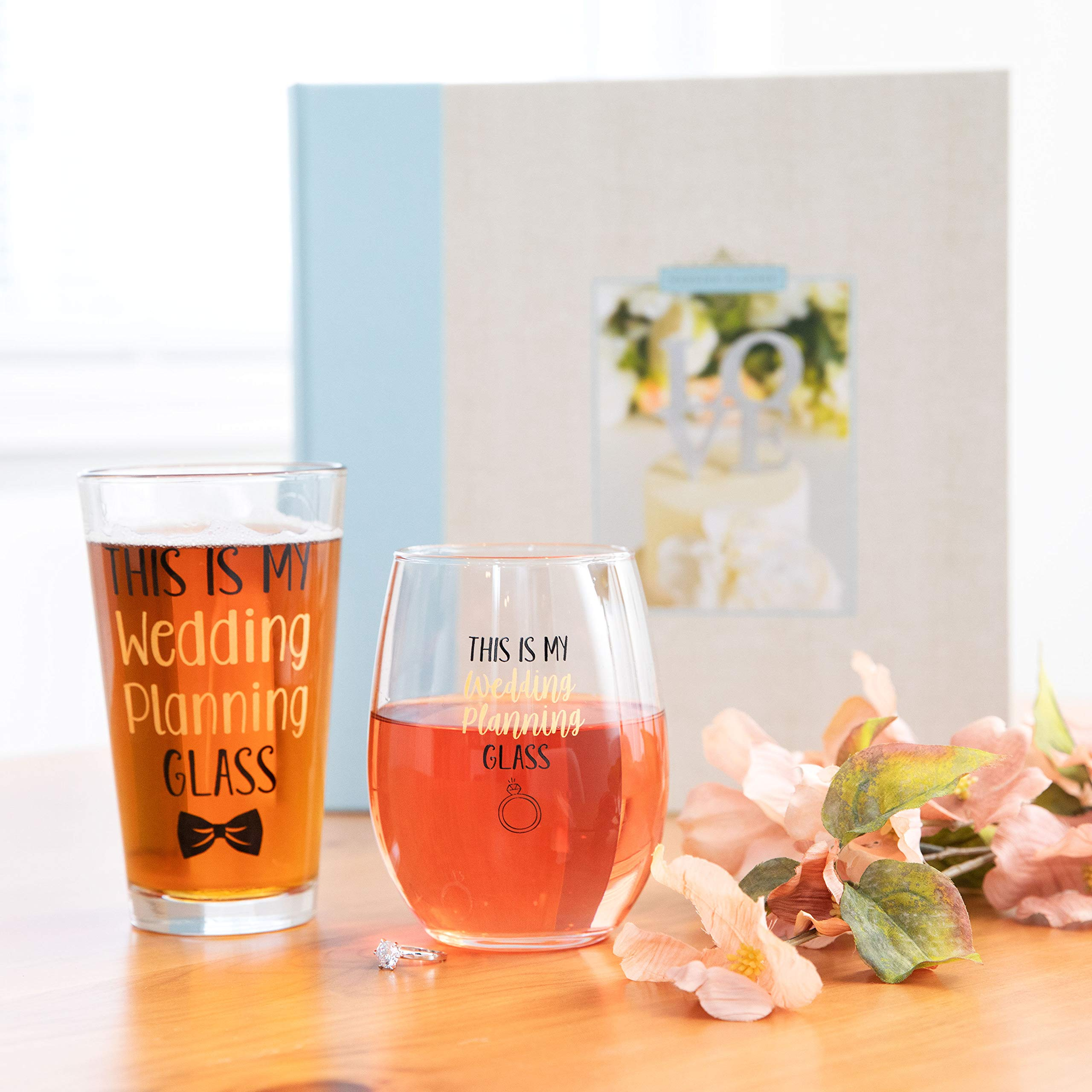 This Is My Wedding Planning Glass Set - Engagement Gift Set for the Couple - Mr & Mrs Gift - Bride and Groom To Be - 16 oz. Pint Glass, 21 oz. Wine Glass (Set of 2) by Gelid (Image #2)