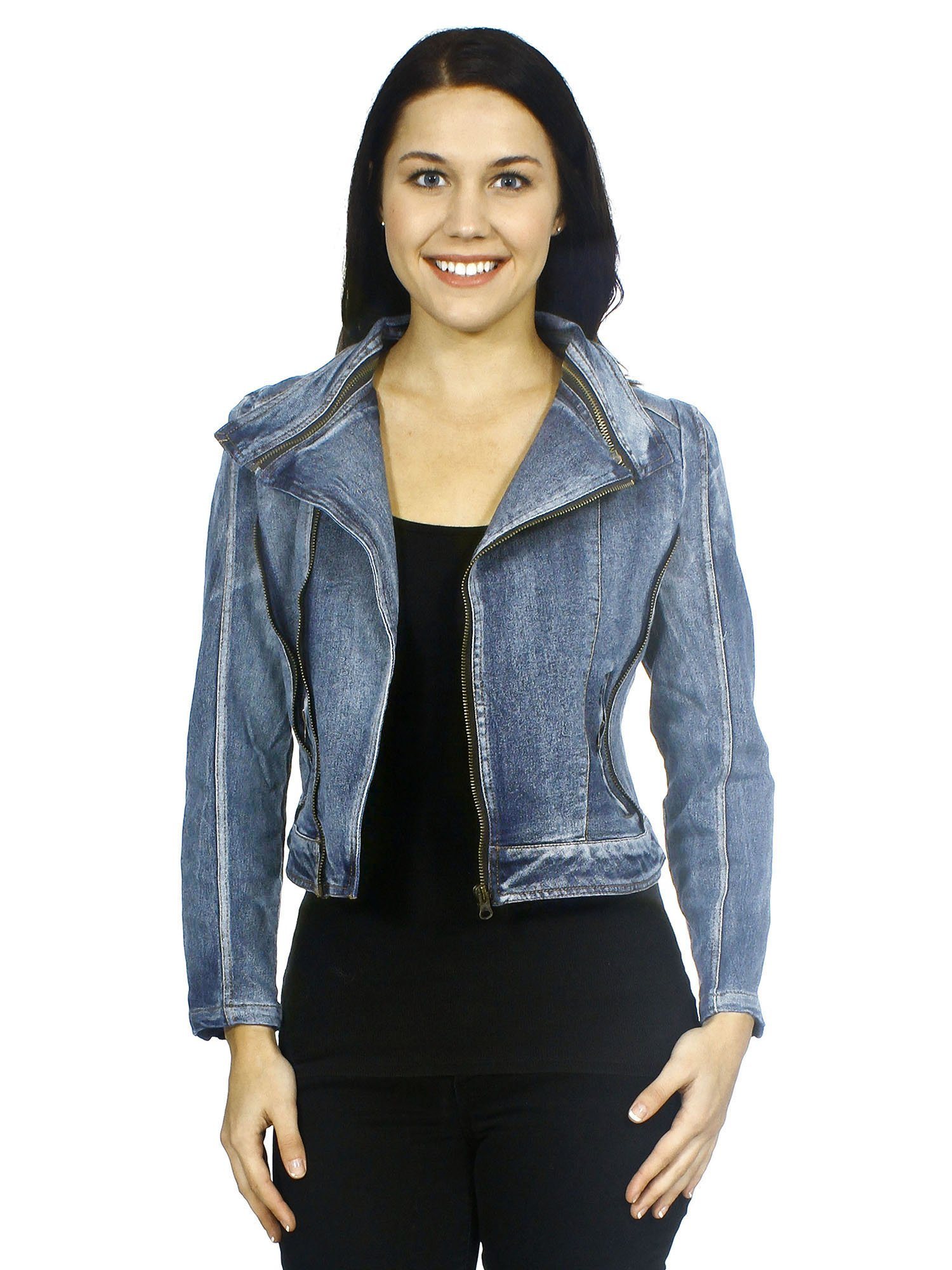 Simplicity Fashion Jean Jacket Long Sleeves in Vintage Style Denim, Stretch, S