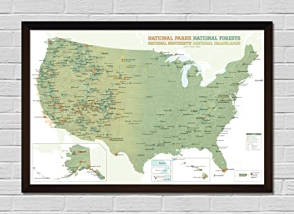 Map Of Usa Forests.Amazon Com Usa National Parks Monuments Forests Map Framed 24x36