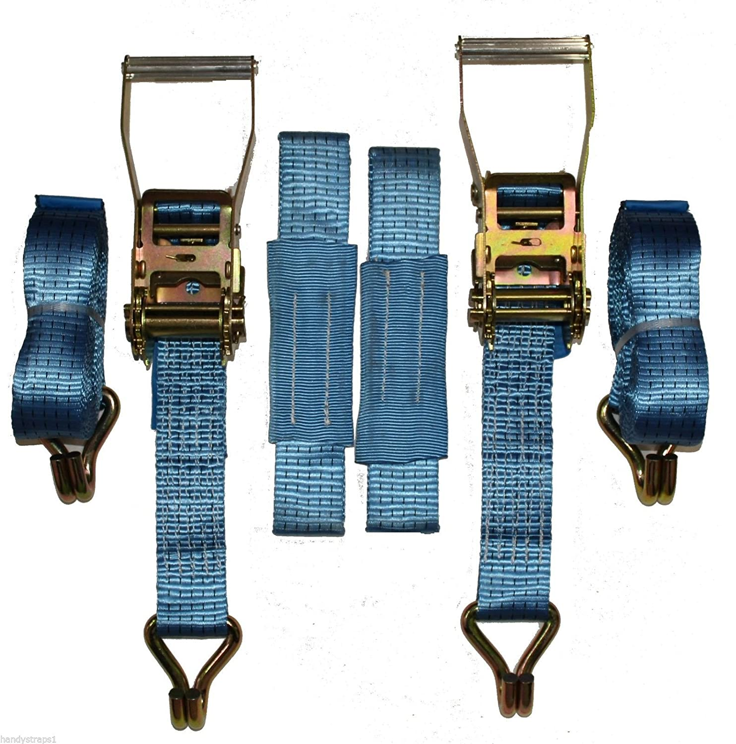 2 x 6mtr Blue Recovery Strap (Standard Handles Soft Ring) Trailer Transporter HandyStraps