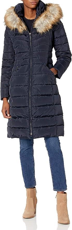 LAUNDRY BY SHELLI SEGAL womens 3//4 Puffer With Bib Faux Fur Trim Hood