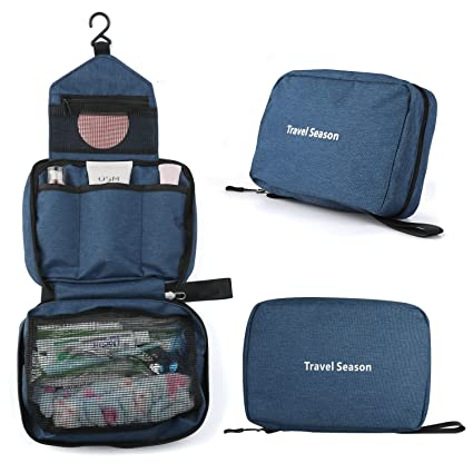 5a29c2d9b6 Amazon.com  Vivefox Hanging Travel Toiletry Bag - Travel Kit Bathroom Bag  Cosmetic Makeup Organizer Shaving Kit for Men  Women (Navy blue(3-Layer))   VIVEFOX ...