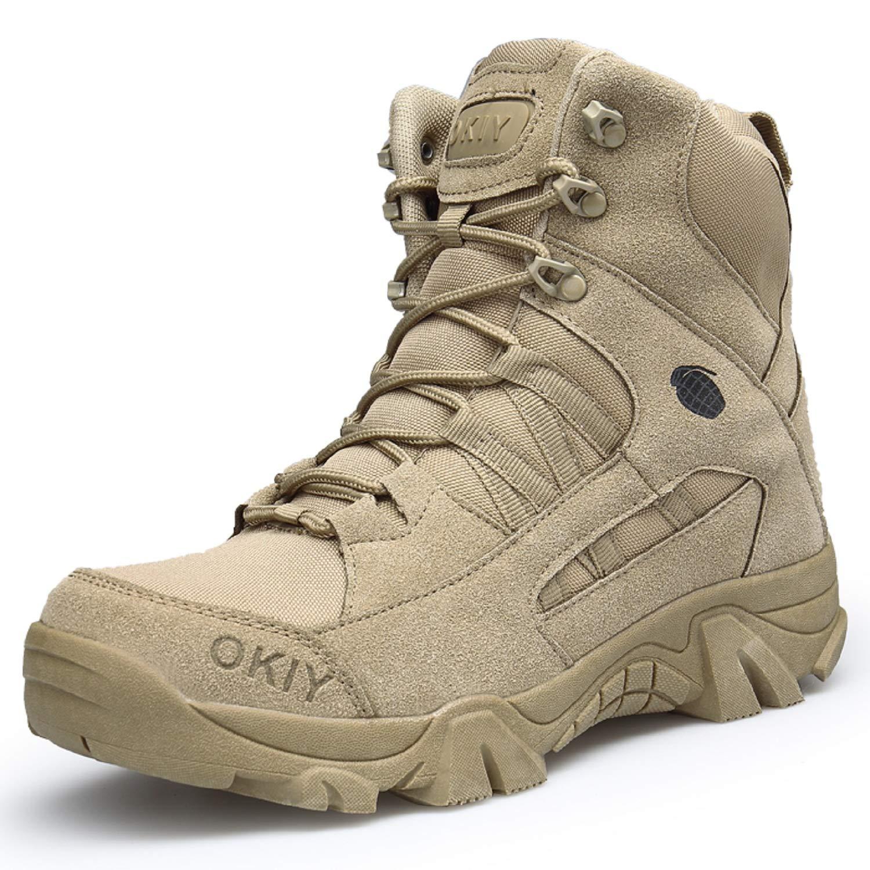 LILY999 Hommes Bottes de Randonnée Tactiques Militaires de Combat Combat Combat Bottes Chaussures de Trekking extérieures Respirantes Antidérapant 45 EU Kaki bfb712