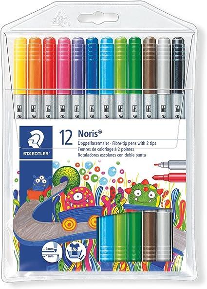 Staedtler Rotuladores de trazo doble. Noris Club. Colores brillantes y surtidos. Estuche con 12 marcadores. 320 NWP12: Amazon.es: Oficina y papelería