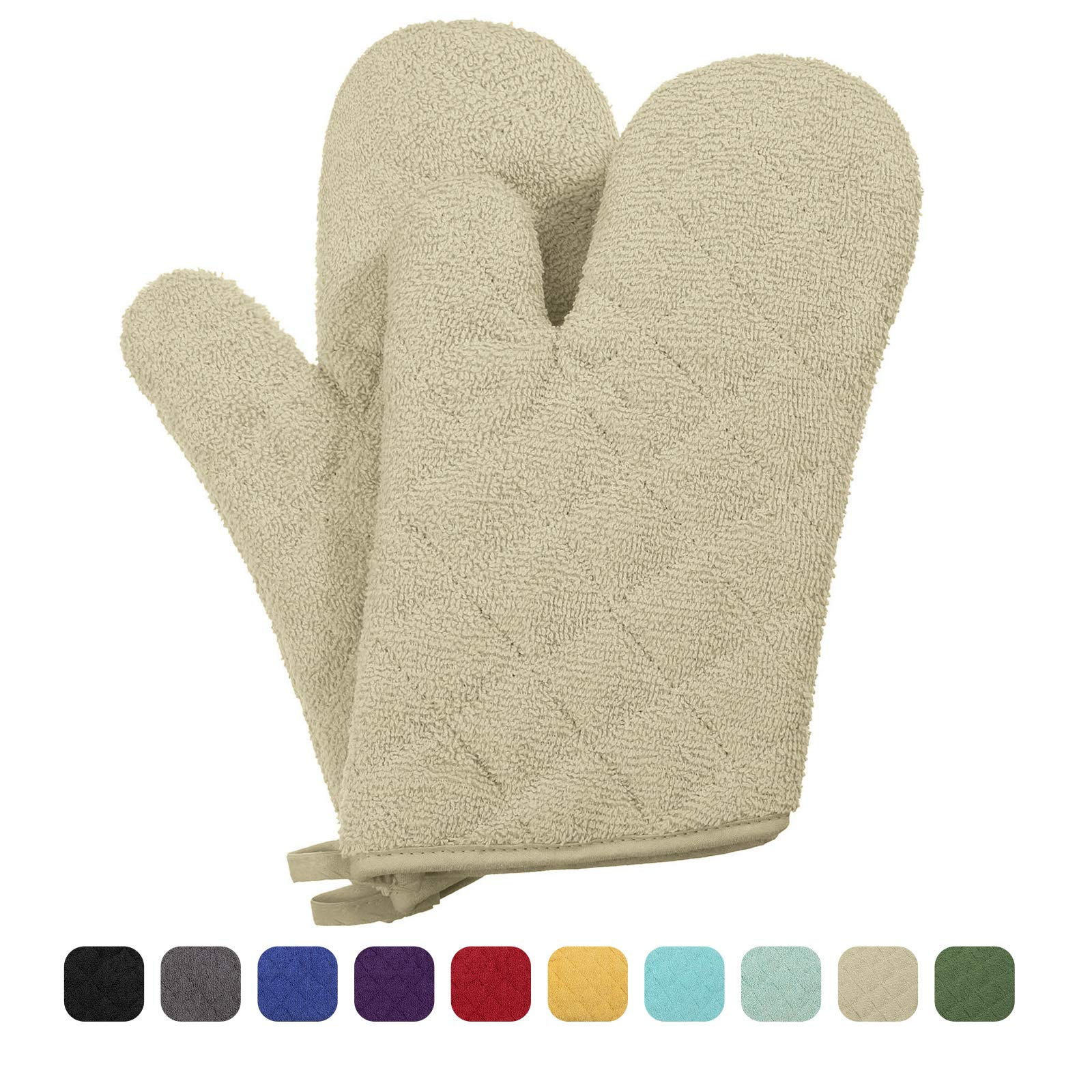 VEEYOO 100% Cotton Oven Mitts Terry Heat Resistant Oven Gloves for Kitchen Set of 2, 7 x 12 Khaki