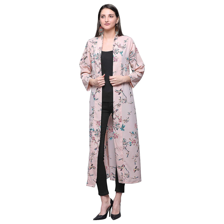 Buy Serein Women's Shrug (Pink Floral Print Crepe Long Open