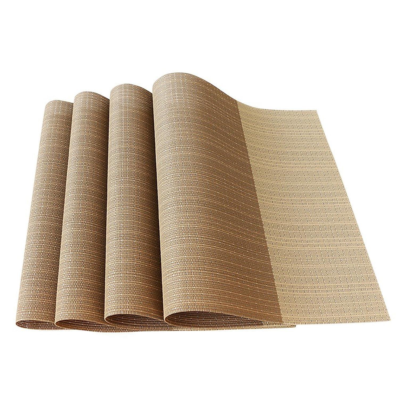 耐熱プレースマットStain PVCテーブルマットDiagonal記事ダイニングテーブルウェアパッドのマットセット4 ベージュ  ベージュ B0785D3ZH7