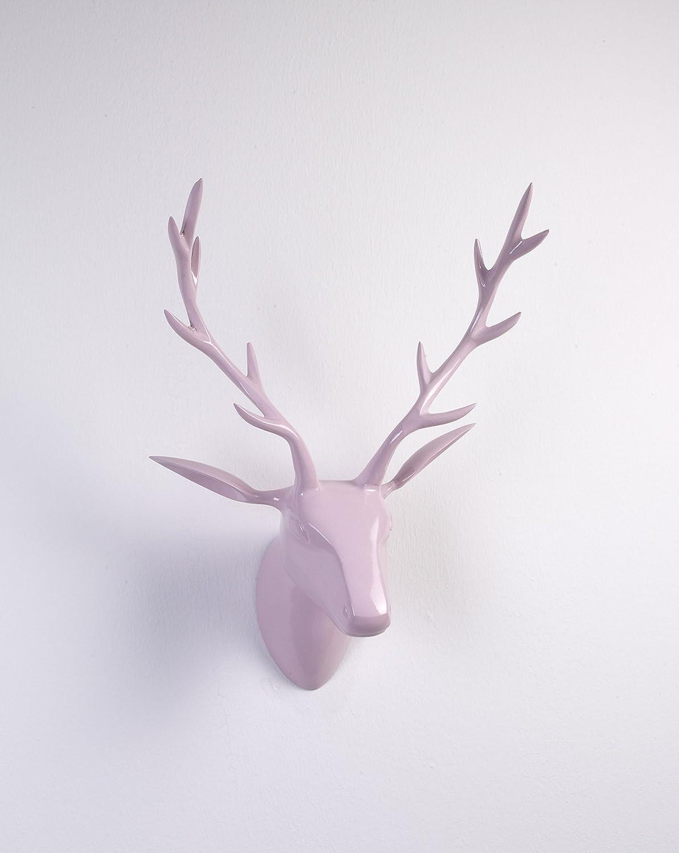 Artra Deko Geweih Hirschkopf rosa (Größe  L) - Wandfigur, Wanddeko, Hirschgeweih, Hirschkopf, Geweih und Skulptur