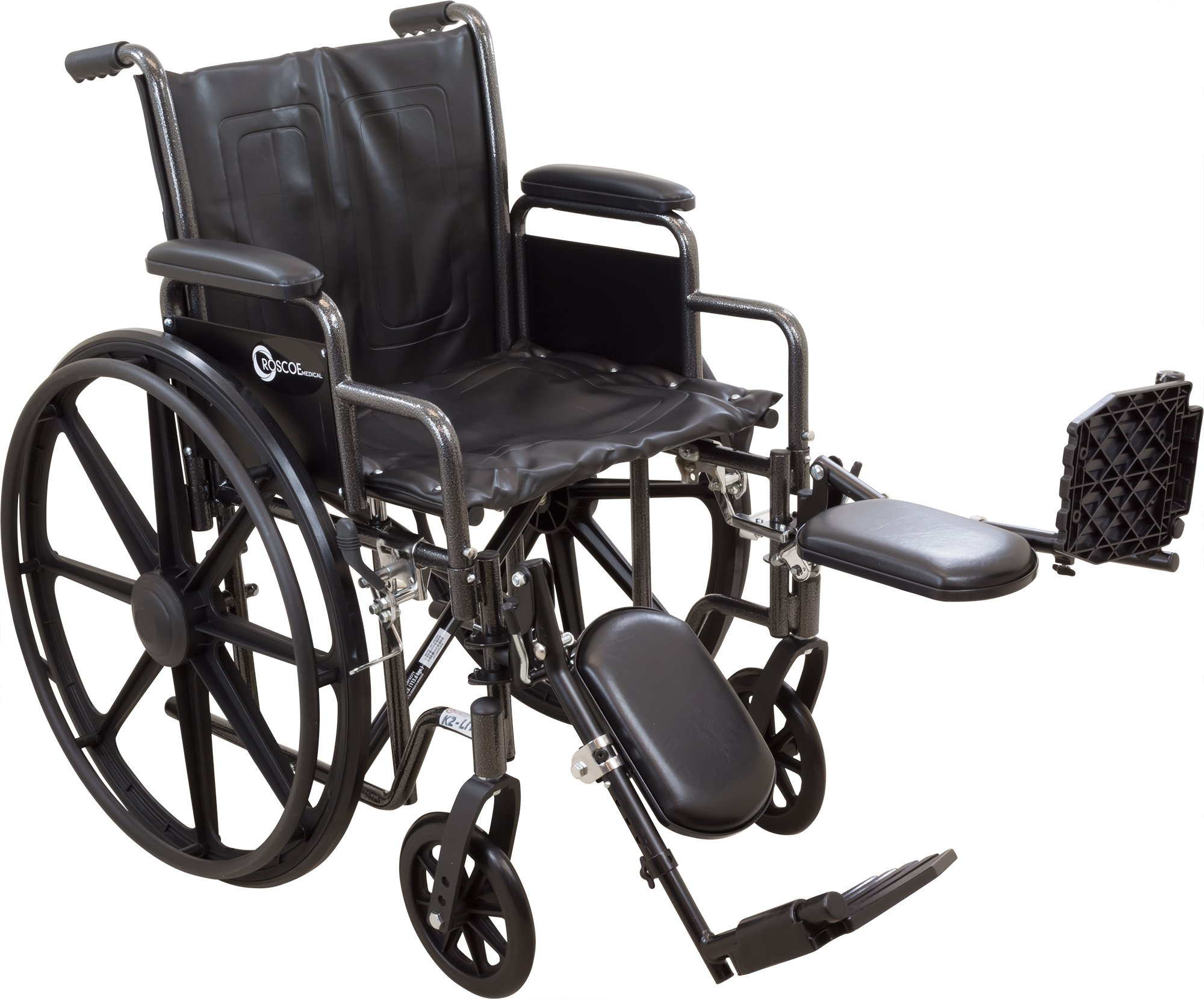 ProBasics Comfort Standard Wheelchair - Height Adjustable Seat - Flip Back Desk Arms - 300 Pound Weight Wapacity - Black - Elevating Leg Rest - 20'' x 16'' Seat by Roscoe Medical