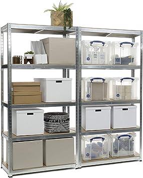 2 estanterías resistentes galvanizadas para garaje, capacidad de 150 kg por estante, 5 niveles de 1500 mm de alto x 700 mm de ancho x 300 mm de ...