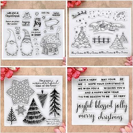 Kwan Crafts 4 hojas diferentes estilo árbol de Navidad Santa Clear sellos para hacer tarjetas decoración y bricolaje scrapbooking: Amazon.es: Juguetes y juegos
