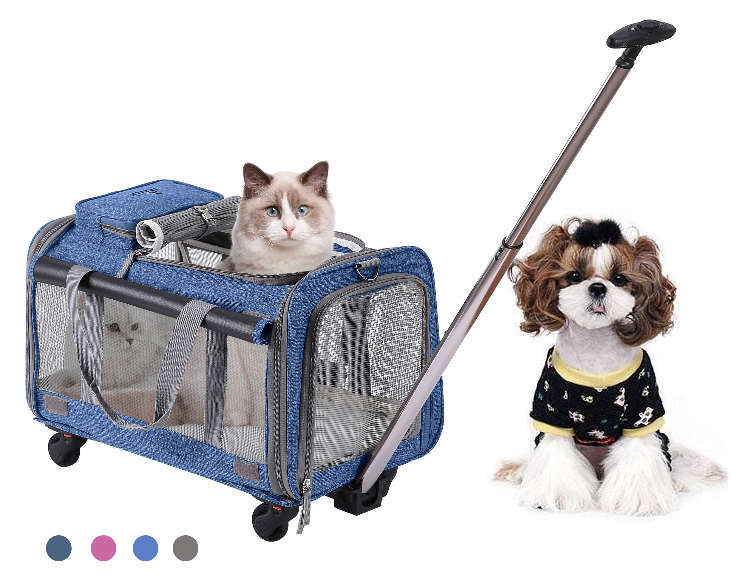 MOVEPEAK PET Carrier with Wheel, Luxury Pet Bag Strollers with Comfortable Fleece Mat for Travel, Hiking,Camping, Designed for Cats, Dogs, Kittens, Puppies, 360° Swivel Mute Wheels