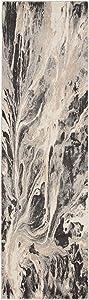 "Inspire Me Home Décor Elegance Grey and White Contemporary Hallway Rug 2'2"" X 7'6"", Multicolor"