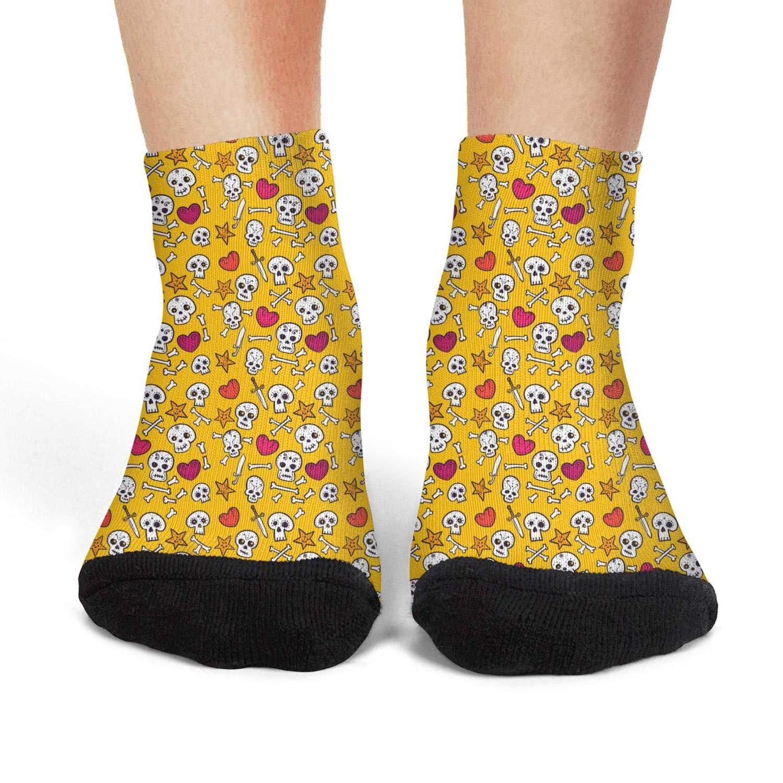 Black skull Retro american flag Stretch No ShowAthletic Non-Slip Ankle Socks for girls